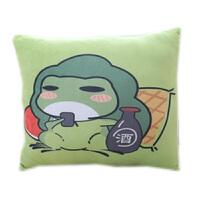 旅行青蛙可爱卡通抱枕被子两用珊瑚绒毯子暖手捂宝三合一靠垫枕头 白色 喝酒