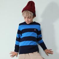 【3折价:110.7元】暇步士童装春季新款男童针织衫个性套头条纹线衣儿童针织衫