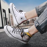 高帮帆布鞋男2019海贼王路飞板鞋学生鞋男鞋青年运动休闲潮鞋四季款小白鞋DB1314523ZW