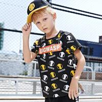 【2件3折价:55.2元】大黄蜂童装 男童短袖T恤2020新款小男孩韩版洋气夏装儿童印花短T