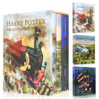 【全店300减110】哈利波特3册彩图精装典藏版 英文原版 Harry Potter Illustrated Colle