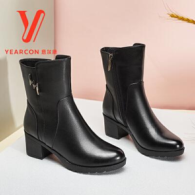 意尔康女鞋2017秋冬新款真皮高跟中靴女英伦百搭粗跟加绒中筒靴子