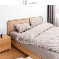 海澜优选床上用品套件家纺日式简约条纹格纹水洗棉四件套