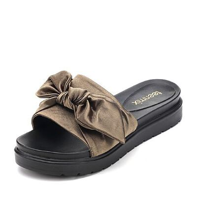 Teenmix/天美意夏专柜同款织物文艺结饰平跟女凉拖鞋AP461BT7