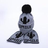 儿童帽子冬季围巾两件套装1-4岁2潮男童女童加绒护耳帽宝宝毛线帽 灰色 仙人套帽 均码