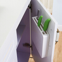 免打孔壁挂式刀架厨房创意刀座隐藏菜刀塑料刀具收纳架置物架 白色(食品级ABS材质)