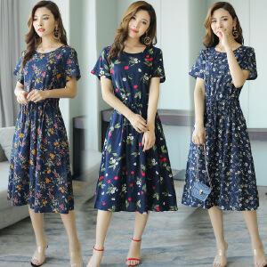 2018年夏季连衣裙纯色优雅韩版修身显瘦潮流低圆领植物花卉