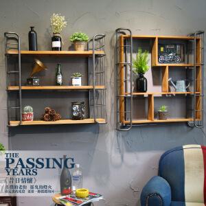 幸阁 美式工业风铁艺实木铁梯方铁 书架置物架仿古做旧壁挂柜