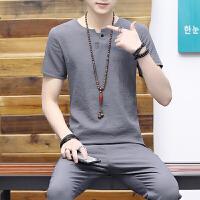 2018夏季薄款休闲套装男士韩版冰丝短袖T恤青年百搭半袖T 深灰色 1828