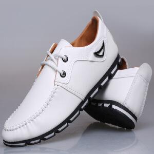 2018新款时尚休闲鞋皮鞋男商务椰子鞋春季外贸爆款系带小白鞋男士商务休闲皮鞋HDMY