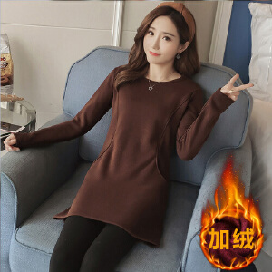 加绒打底衫女加厚保暖中长款长袖T恤修身百搭大码外穿上衣秋冬季