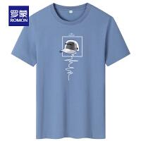 罗蒙男士短袖T恤2021夏季新款时尚休闲圆领T恤衫中青年印花上衣男