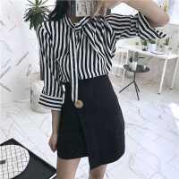 夏季新款韩版修身立领飘带竖纹衬衣+金属扣不规则高腰短裙包臀裙