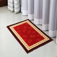 卡通地垫门垫绒面地毯卧室垫子 卫生间浴室吸水防滑脚垫 红色 玫瑰花 40x60CM拍三件以上有赠品