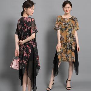 2018女装印花连衣裙宽松短袖过膝高档