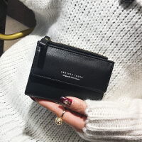2018百搭新款女士短款小钱包复古韩版零钱皮夹大钞位简约拉链短款