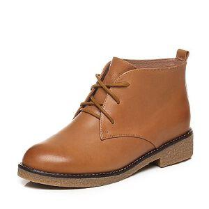 Tata/他她2017秋棕色羊皮绑带及踝靴方跟女短靴2YWH2CD7