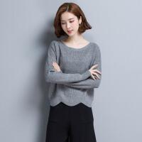 2018春装新款女士低领薄款毛衣女套头宽松针织打底衫春季外穿