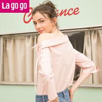 Lagogo2019年春季新款粉色甜美九分袖袖纯棉一字肩翻领系带上衣女