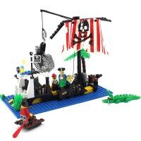 启蒙玩具小颗粒拼装积木拼插模型6-10岁男孩益智玩具海盗系列302 儿童礼物 拼装积木玩具 238块颗粒