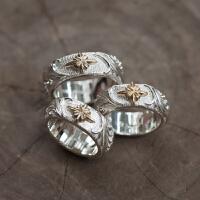 百美戒指手文字手工凸唐草錾刻925银指环 复古戒指情侣手工时尚对戒