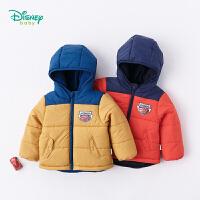 迪士尼Disney童装 儿童夹棉外套秋冬新品中长款连帽上衣男宝宝撞色保暖衣服184S1015