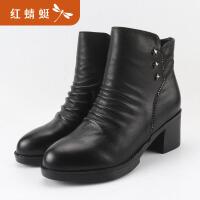 红蜻蜓棉鞋女冬季新款短靴真皮加棉高跟侧拉链粗跟女靴