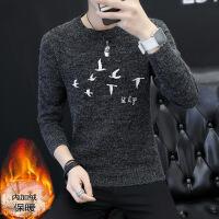 圆领毛衣男秋冬季韩版加绒加厚青少年学生羊毛衫修身针织衫线衣潮 1530