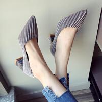 韩版显瘦粗跟高跟单鞋女性感绒面浅口尖头黑色工作鞋2018新款女鞋