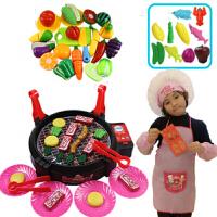 儿童过家家仿真电动烧烤炉玩具BBQ烤肉宝宝厨房厨具子玩具 +蔬果切切乐18件套+厨师服装