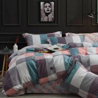 磨毛四件套全棉纯棉简约1.8m床品床单被套秋冬加厚保暖床上四件套 1.8/2.0m床 被套220*240, 床单24