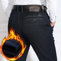 冬季中年男士加绒牛仔裤中老年人加厚男裤宽松高腰爸爸直