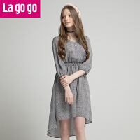 【5折价173】Lagogo/拉谷谷2018春季新款裙摆前短后长圆领连衣裙HALL342F05