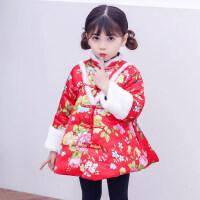 童装2018冬装女童中国风印花唐装宝宝夹棉加厚喜庆儿童新拜年服