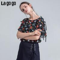 Lagogo2018夏季新款印花女短袖上衣宽松碎花韩版女系带时尚雪纺衫HASS304A12