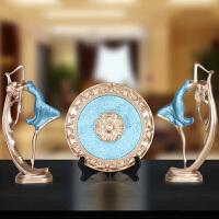 欧式创意树脂工艺跳舞女三件套电视柜家居软装饰摆件客厅结婚礼品 树脂珠光舞女三件套-蓝色