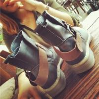 欧洲站秋季新款真皮短靴子女鞋马丁靴舒适单靴平跟女靴粗跟及踝靴