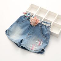 儿童牛仔短裤新款夏季韩版女童宝宝花朵腰带热裤公主时髦裤子
