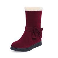 女童靴子韩版2018冬季小女孩公主鞋蝴蝶结女童棉靴亲子保暖童鞋女