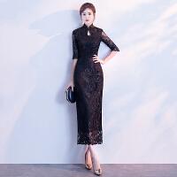 改良版旗袍2018新款冬季长袖日常少女中国风黑色晚礼服连衣裙长款 黑色