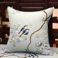 中式棉麻刺绣沙发垫坐垫防滑靠垫罗汉床古典实木椅垫套定做 60x60cm (枕套+内芯)