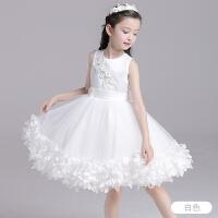 2018新款儿童礼服白色女童公主花童婚纱裙钢琴走秀演出服蓬蓬裙夏0002 白色