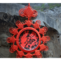 漆雕中国结挂件大号龙凤福字五福临门送老外客厅玄关