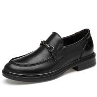 休闲皮鞋男英伦商务鞋男士软牛皮大码一脚蹬爸爸鞋子小码真皮男鞋