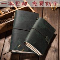 雪生手工牛皮旅行记事本真皮笔记本文具复古活页手账本子创意礼品