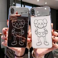 潮牌补妆镜子苹果X/Xs/Xr手机壳卡通iPhone6s/7/8plus镜面XsMax女 6p/6splus 白底芝麻