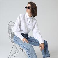 初语长袖衬衫女纯棉冬季新款休闲宽松工装风双口袋翻领上衣
