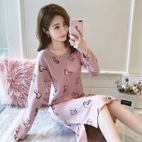 韩版字母睡衣女秋季长袖可外穿家居服女士甜美可爱睡裙女春秋