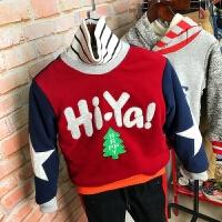 儿童加绒卫衣冬款中小男童羊羔绒圣诞树贴布绣圆领套头上衣绒衫