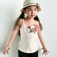 裂帛童装2018夏季新款舒适百搭针织吊带刺绣合体背心女童56170365